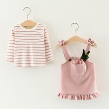 Autumn Baby's Clothing Sets Long Sleeve Striped Blouse Tops + Overalls Ruffles Skirt Girls Kids Party Two Pieces Suits