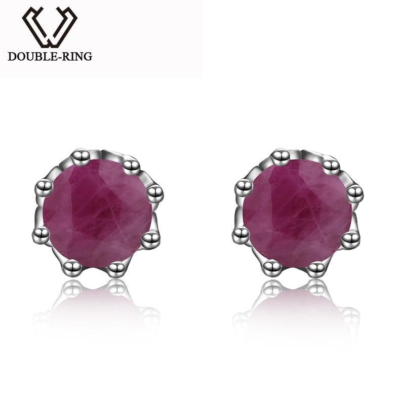 DOUBLE-R Natural Ruby Gemstone 925 Sterling Silver Earrings For Women Stud EarringsDOUBLE-R Natural Ruby Gemstone 925 Sterling Silver Earrings For Women Stud Earrings