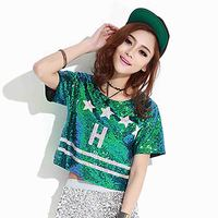 San.Ladies Summer New t shirt Bar dance performance nightclub performance costume five star sequins t shirt women