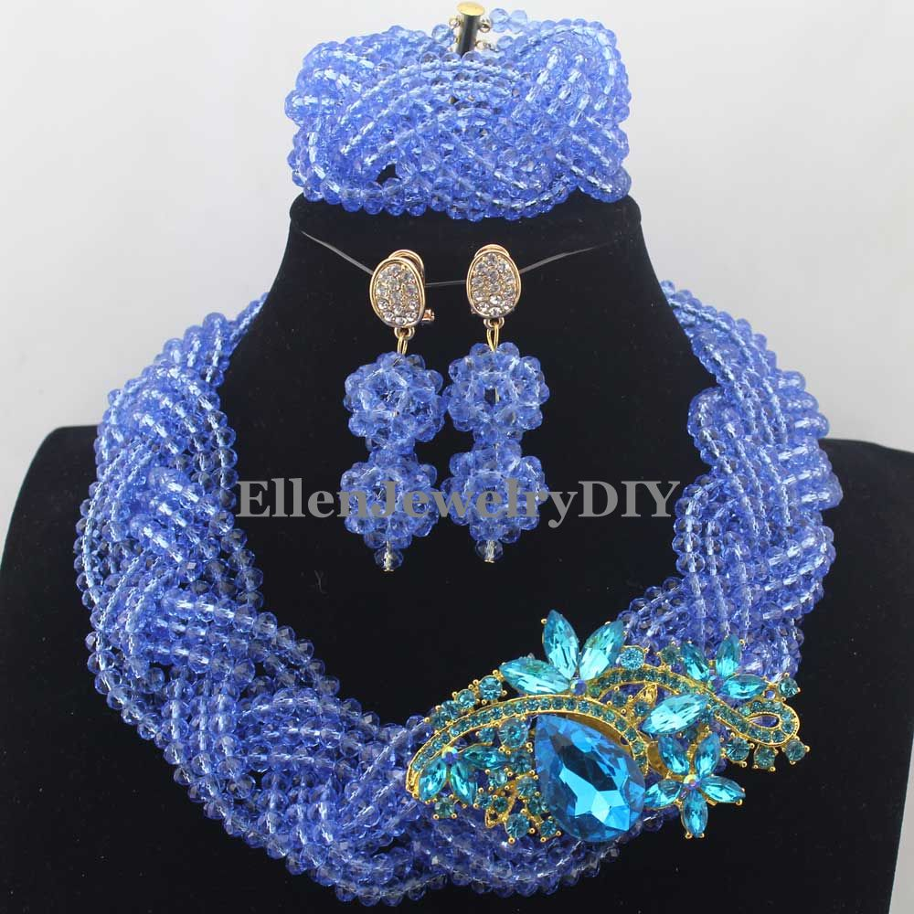 2019 African Beads Jewelry Set nigerian wedding bridal Crystal Beaded Necklace Set African style Statement jewelry set W130172019 African Beads Jewelry Set nigerian wedding bridal Crystal Beaded Necklace Set African style Statement jewelry set W13017