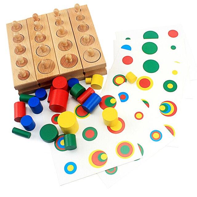 Bebé Montessori juguetes educativos de madera colorido juego de bloques de cilindros para niños educación preescolar juguete de Aprendizaje Temprano