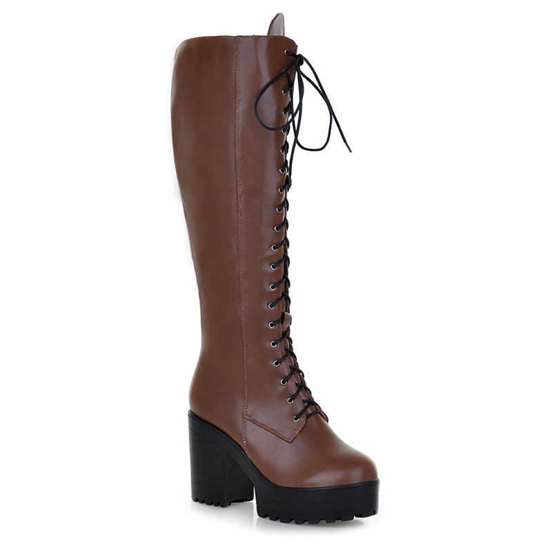 MORAZORA 2020 yeni diz yüksek çizmeler kadın dantel up zip yüksek topuklu platform çizmeler sonbahar kış serseri ayakkabı bayanlar büyük boyutu 43