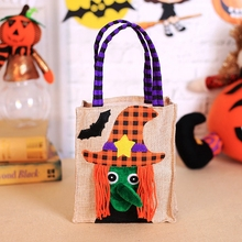 1pc linen Candy Bag Halloween Bags Trick or Treat with Decoration Sack Gift bag witch