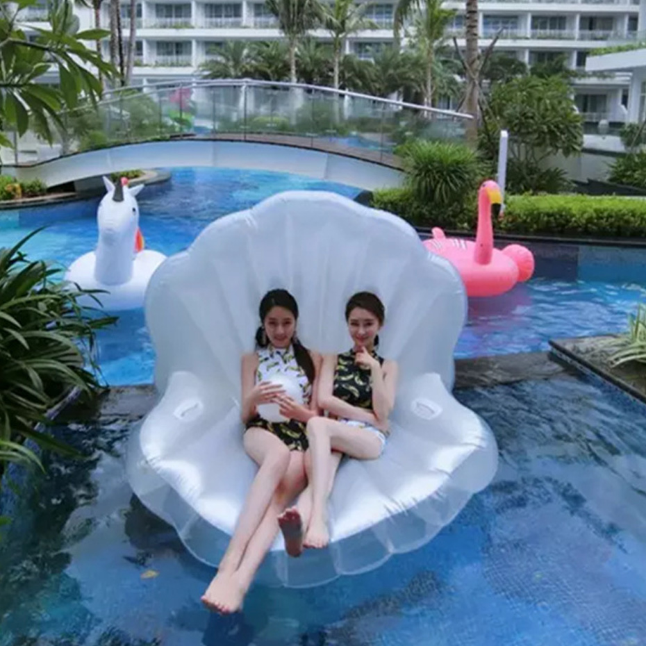 Giant Adults Giant Pool Float Pearl Scallops White Inflatable Shell Floating Mattress Lounger Pearl Ball Floating Beach Chair ...