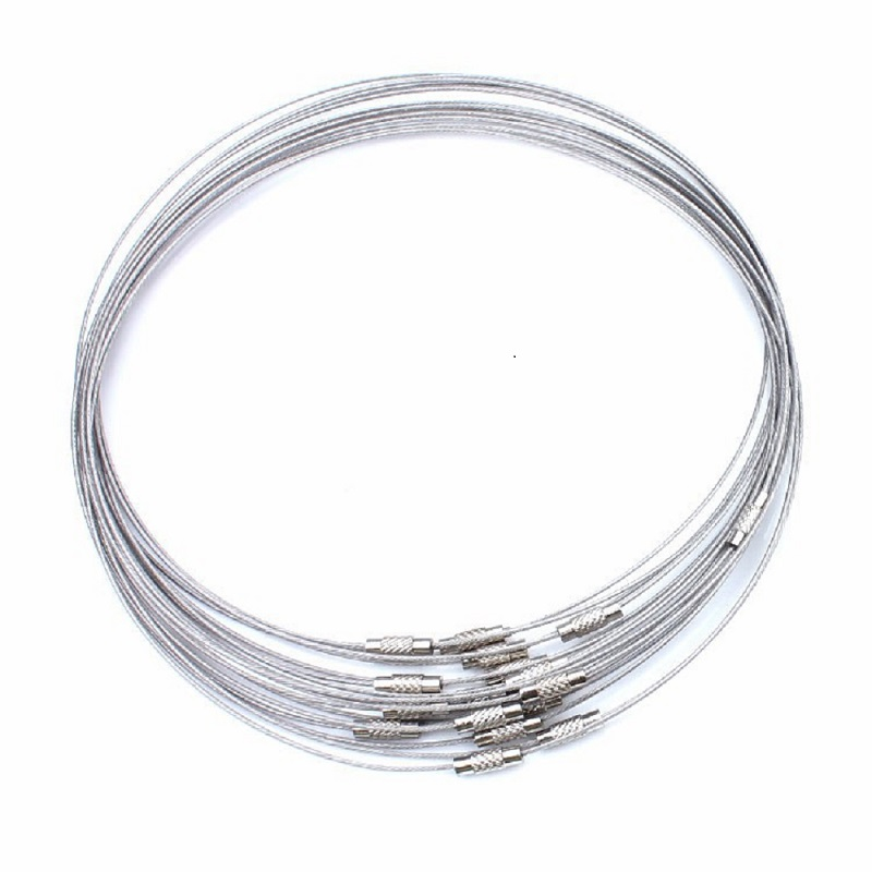 10pcs/lot 46cm silver Color Stainless Steel Necklace Wire Cord For DIY Craft Jewelry Accessoires UF1769