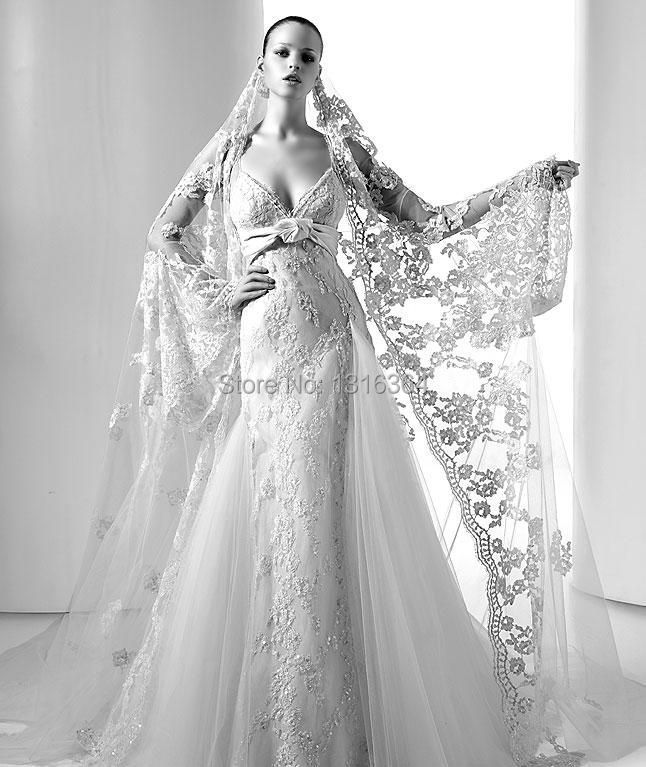 Aliexpress Buy Luxury Bridal Wedding Fllor Length Cape One Layer Cathedral Train Full Lace Veil White Ivory Tulle Net From