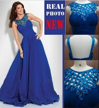 free shipping 2014 new hot vestidos de festa beaded sexy party prom gowns custommade chiffon royal blue evening Dresses