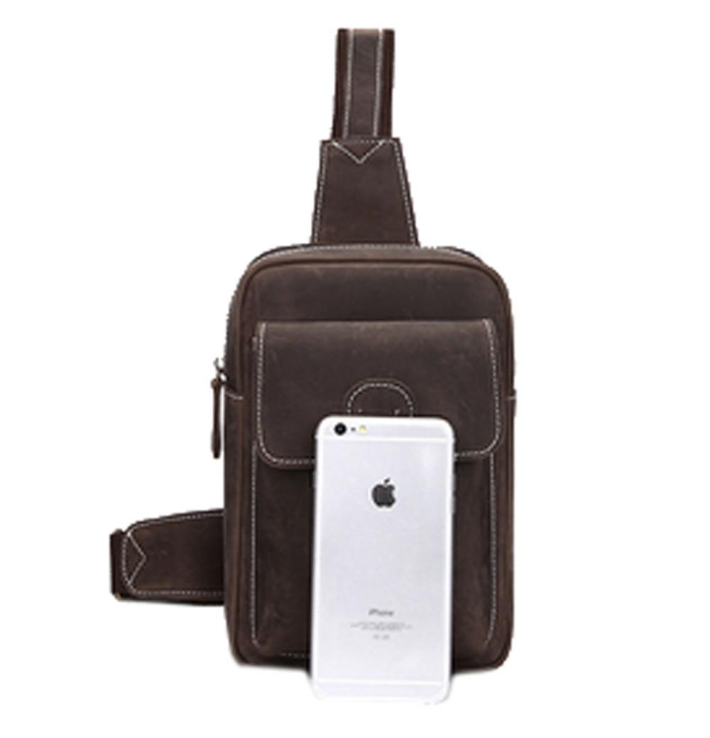 ФОТО 2017 Men Crazy Horse Genuine Leather Vintage Shoulder Bag Messenger Pack Travel Mountaineering Sling Chest Back Day Pack New