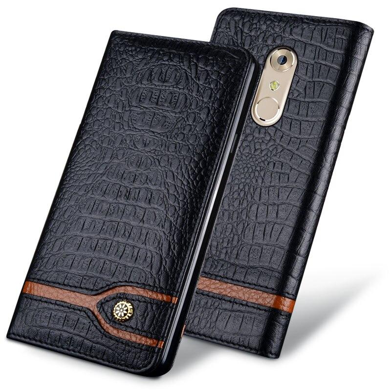 imágenes para Original nueva Marca de Lujo Cajas Del Teléfono de Cuero de Cocodrilo Genuino Para AXON AXON 7 Bolsos Del Teléfono de Moda Para ZTE ZTE 7 A2017