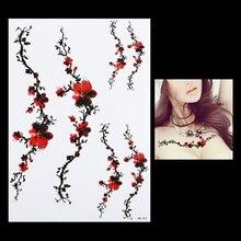 1pc Beauty Decal Temporary Tattoo HB327 Plum Blossom Wintersweet Flower Design Sexy Women Waist Body Art Waterproof Tattoo Stick