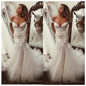 Image 4 - SoDigne kapalı omuz aplike dantel Mermaid gelinlik 2020 Mermaid/trompet tren Illusion gelin kıyafeti elbise beyaz