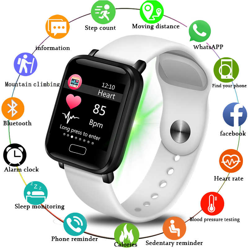 LIGE Fitness Women Smart Watch Men smart wristband Bluetooth Heart Rate Blood Pressure Pedometer Clock LED Sport Smart bracelet