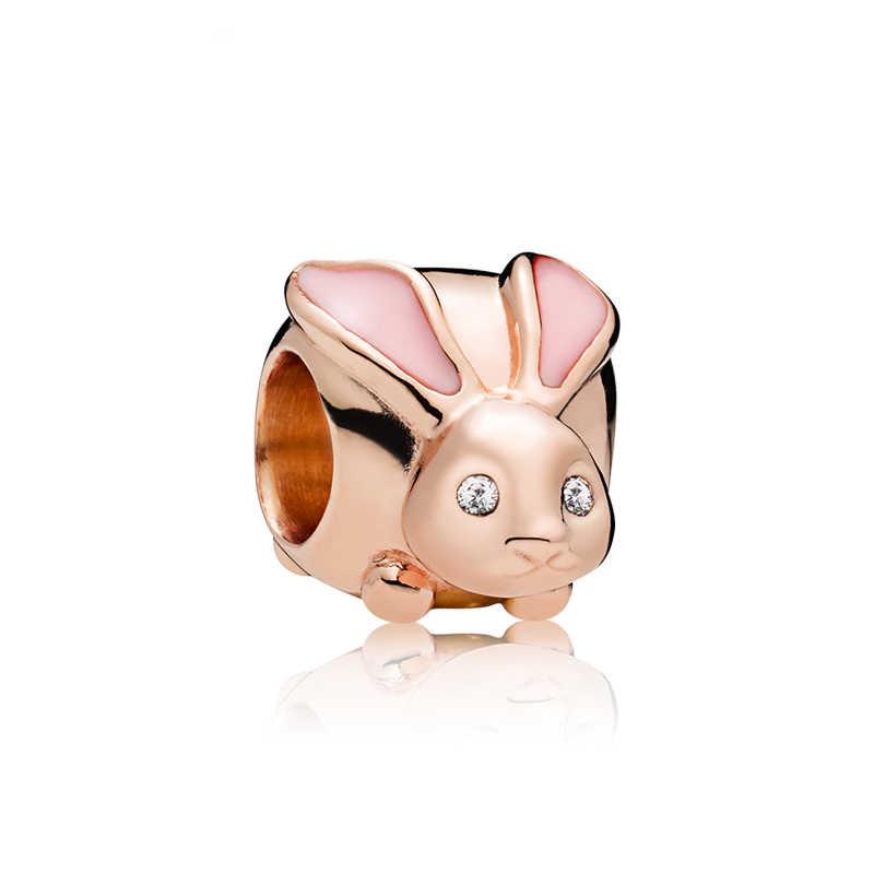 Btuamb Europeo di Lusso di Cristallo Dello Smalto Del Coniglio Simulato Della Perla Cappello Pendenti e Ciondoli Misura Branelli dei Braccialetti Pandora per Le Donne Fabbricazione Dei Monili