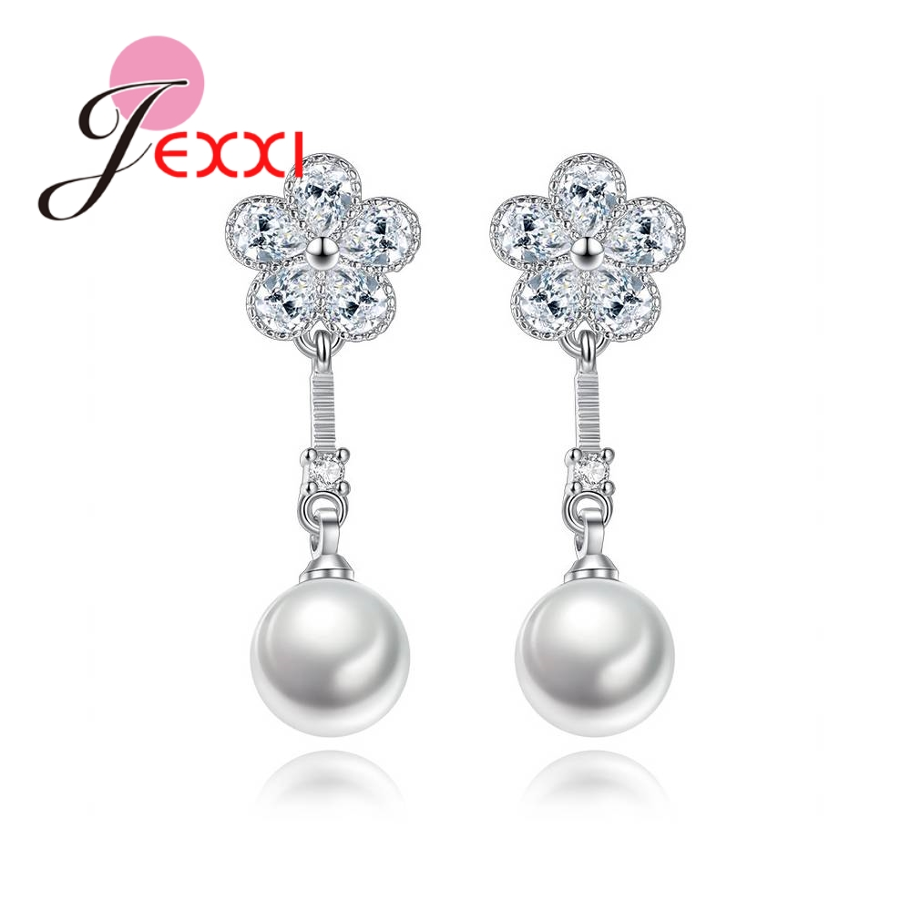 JEXXI Top Quality Sparkling Crystal Flowers 925 Sterling Silver Pearls Drop Earrings For Women Engagement Wedding Acessories