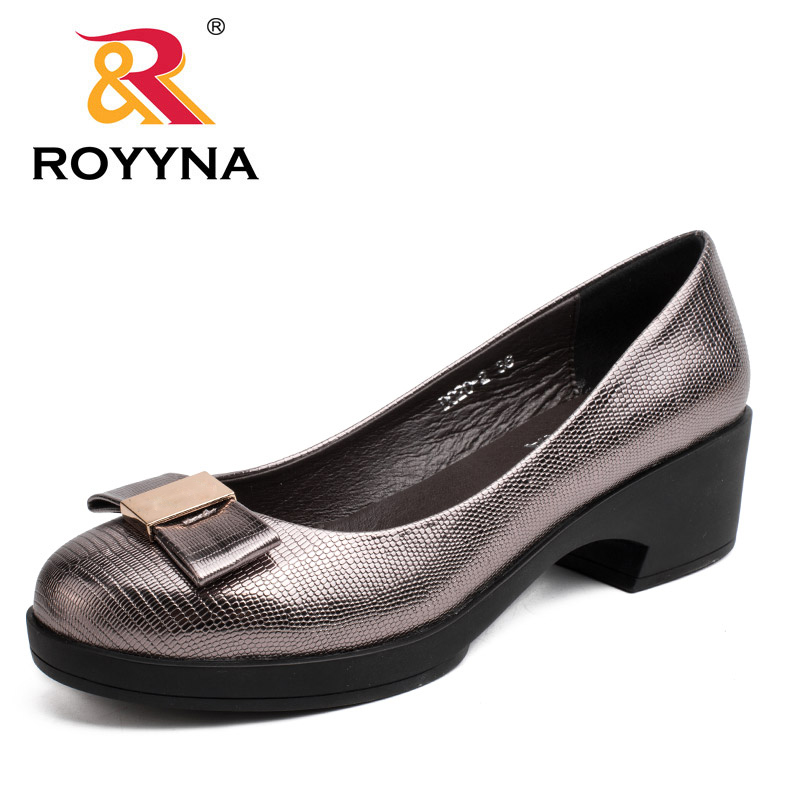 ROYYNA 2017 New Concise Style Women Pumps Butterfly-knot Shoes Women Rount Toe Women Casual Shoes High Square Heels Women women wellbeing