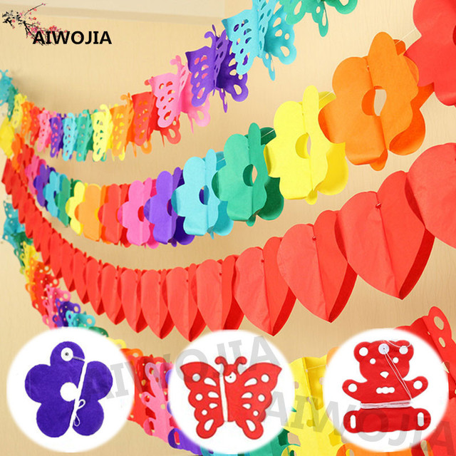 3m Diy Paper Butterfly Wall Hanging Paper Pull Flower Curtain Living