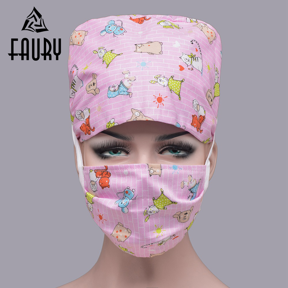 70d01d3f0f8cc Detail Feedback Questions about Women Men Medical Clothing Accessories  Beauty Caps Doctor Nurses Cotton Print Scrub Cap Mask Surgical Surgery Hats  on ...