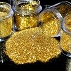 4 Sizes Pure Gold Nail Glitter Powder Shimmer Hexagon Nail Art DIY Small Glitter Dust Powder Sequins Sheet in Clear Jar