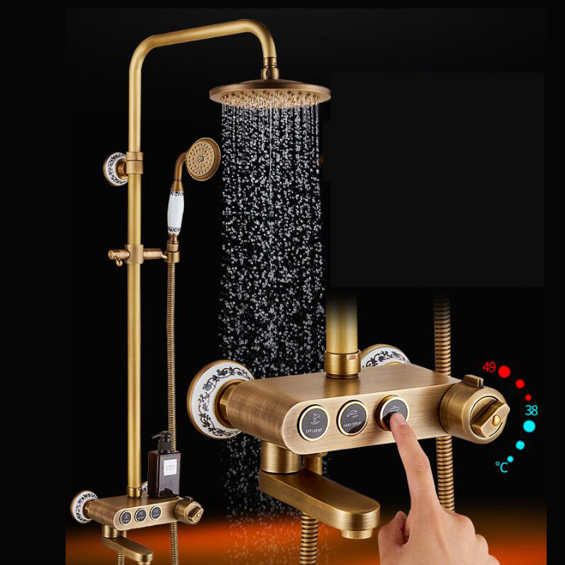 Antique Brass Rainfall Shower Head Faucet Thermostatic Valve Tub Spout Hand Shower Wall Mounted Shower Faucets Sets wall mounted mixer valve rainfall antique brass shower faucet complete sets 8 brass shower head hand shower hose yt 5337a