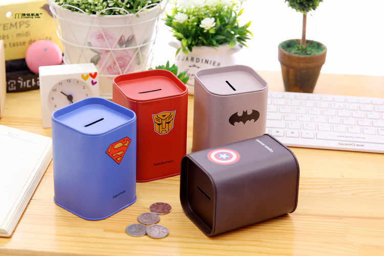 1PC Personalise Square piggy bank Logbook Series Tin Plate box Money Saving Pot Coin Box 2354 Jewelry Box Storage Tank OK 0447