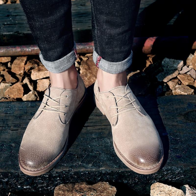 Chaussures brown Printemps Richelieus Mâle Cuir Black Bomkinta Martin 2018 khaki Hommes Mans En Casual Automne Top Rétro Lacent Appartements New Low xwvvX0pHq