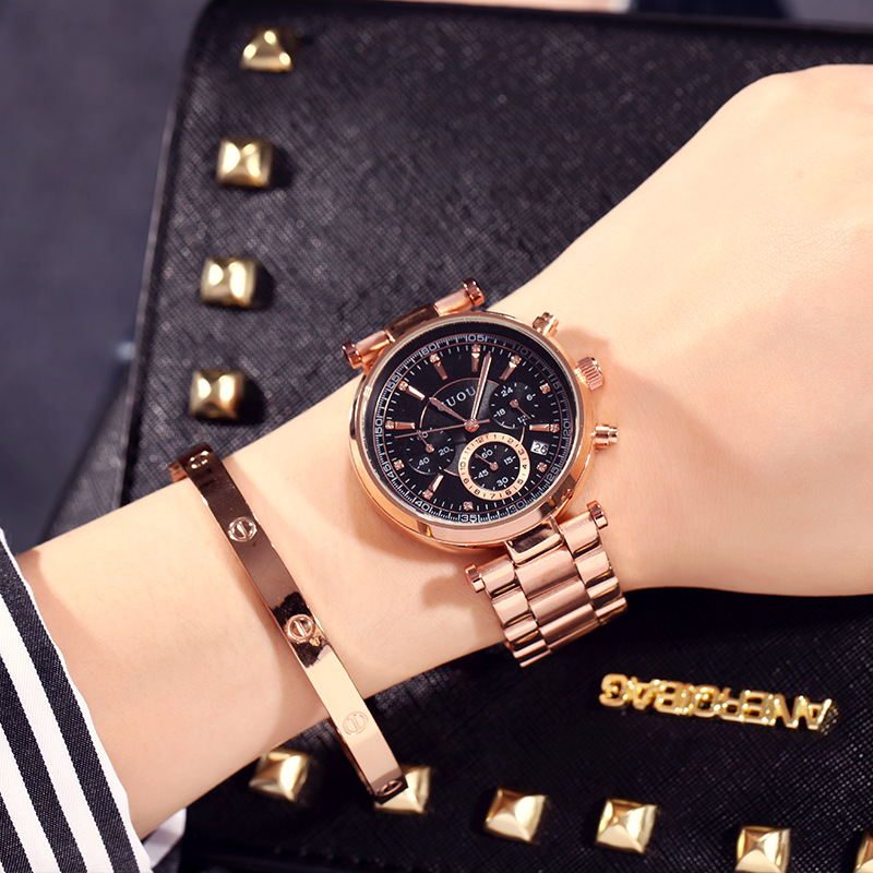 Women Watch Elegant Brand GUOU Famous Luxury Gold waterproof Quartz Watches Ladies Small seconds calendar Steel Wristwatches onlyou brand luxury fashion watches women men quartz watch high quality stainless steel wristwatches ladies dress watch 8892
