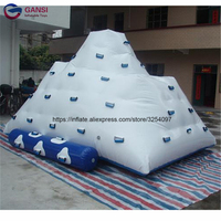 Inflatable iceberg water toys for adult good 0.9mm PVC tarpaulin 5*4*4m inflatable water climbing mountain with climbing slide