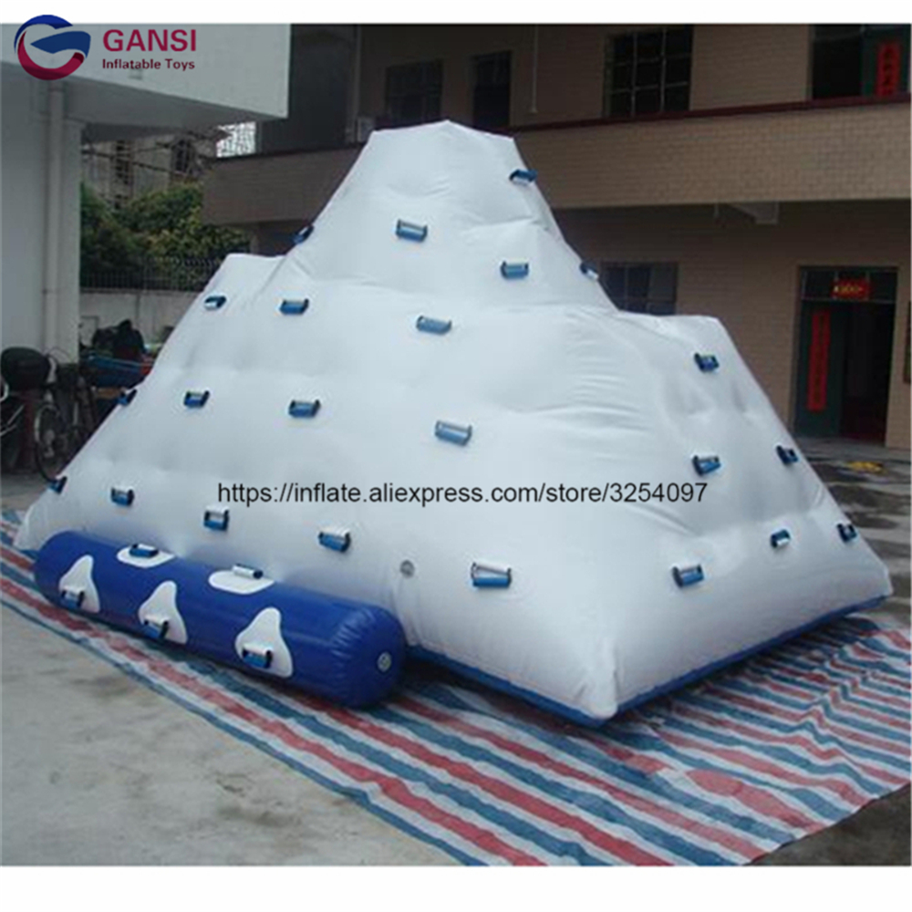 Inflatable iceberg water toys for adult good 0.9mm PVC tarpaulin 5*4*4m inflatable water climbing mountain with climbing slide 5m 4m 4m float unicorn water park inflatable water island inflatable iceberg for funny games inflatable ice tower