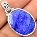 Hand Made Sapphire Pendant 100 925 Solid Sterling Silver 37 MM AA0019