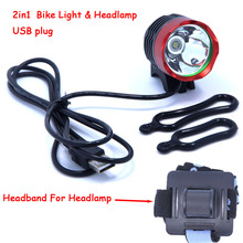 2000 Lumens CREE XM-L T6 LED Bicycle Headlamp Headlight Waterpoof Bike Light Head Lamp Cycling USB Front Light & o-ring Headband