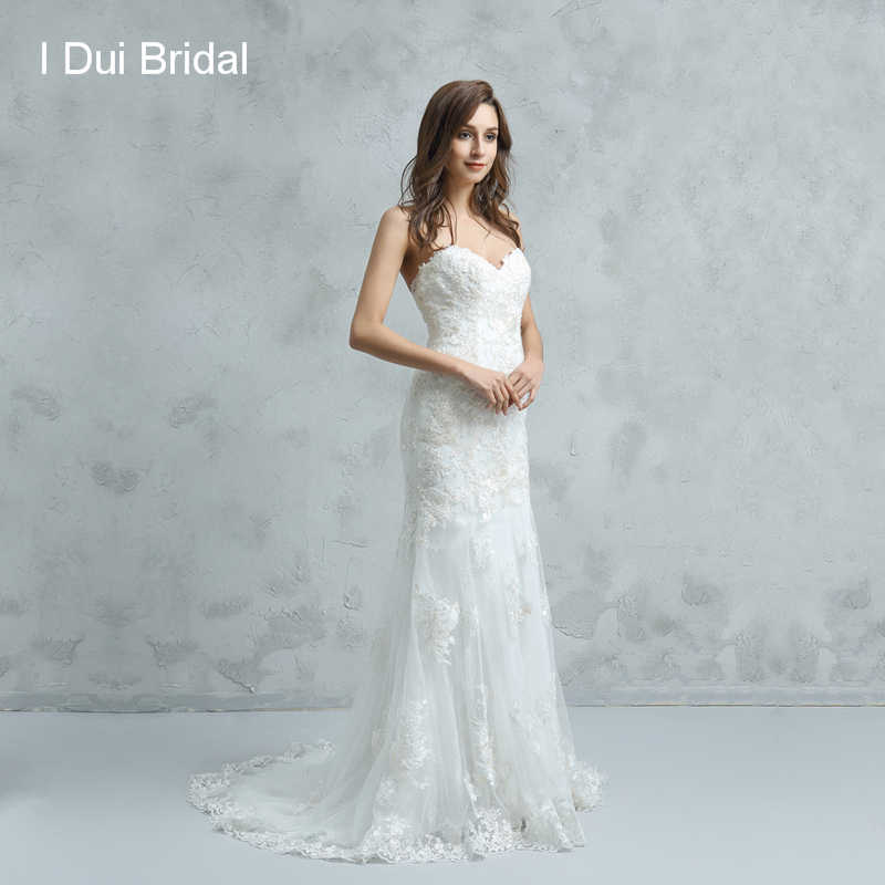 Sweetheart Lace Wedding Dresses Sheath Button Back High Quality Affordable Bridal Gown