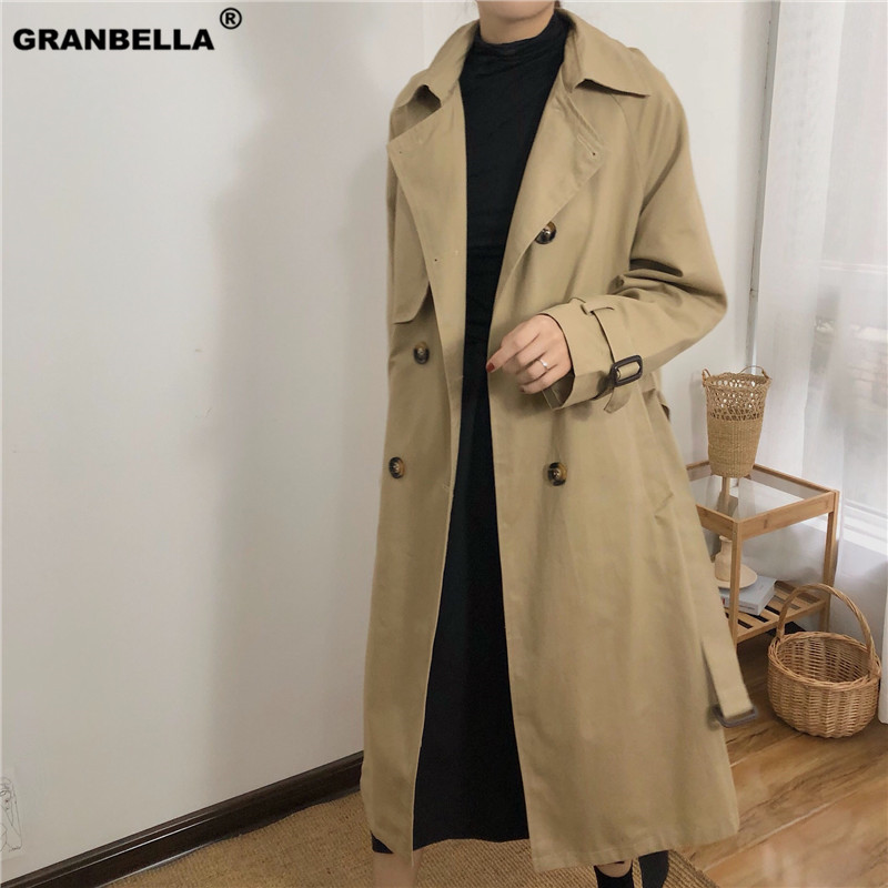 Spring Autumn Women Fashion Brand Korea Style Sashes Loose Khaki   Trench   Coat Female Casual Elegant Soft Long Overcoat