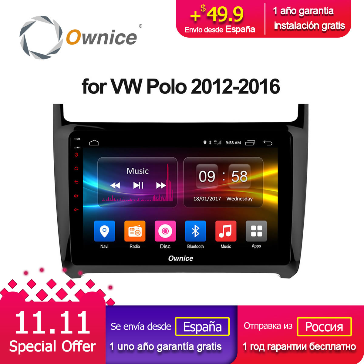 цена на Ownice C500+ G10 Android 8.1 Car Radio dvd for VW Volkswagen SKODA GOLF 5 Golf 6 POLO PASSAT CC JETTA TIGUAN TOURAN 2 din 8 Core