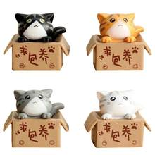 Lovely Box Cartoon Cat Miniature Landscape Decor Bonsai Resin Crafts Ornament(China)