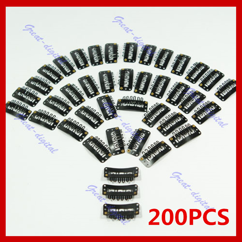 200Pcs/Lot U Shape Black Snap Clip For Hair Extension Wig Weft 32mm Ponytail Holder