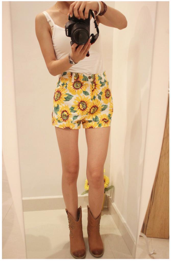 hot women clothing lady sunflower shorts cotton high waist denim ...