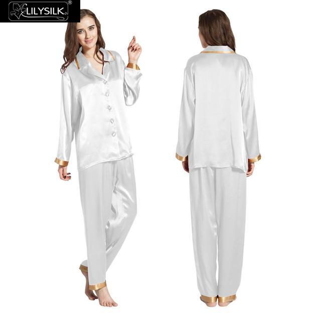Conjuntos De Pijama De Seda Das Mulheres de Manga Comprida 22 Momme Lilysilk Branco Noite Wear Pijamas Pijima Senhoras de Inverno Da Marca de Roupas Da Família