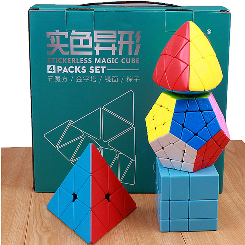 Shengshou 4 in 1 megaminx magic cubes professional puzzle pyraminx cubo magico 3x3x3 mirror speed cube toys for Children