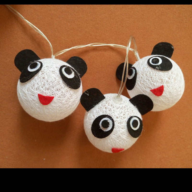 Night Light Fairy LED String Light Panda Cotton Ball Battery Power Luminaria For Holiday Christmas Wedding Decoration