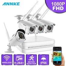 ANNKE 8CH 1080P FHD bezprzewodowy system monitoringu wizyjnego NVR z 4X 2MP Bullet Outdoor Weatherproof IP WIFI kamery domowe zestaw cctv