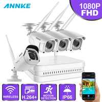 ANNKE 8CH 1080P FHD Wireless NVR Video Surveillance System With 4X 2MP Bullet Outdoor Weatherproof IP WIFI Cameras Home CCTV Kit
