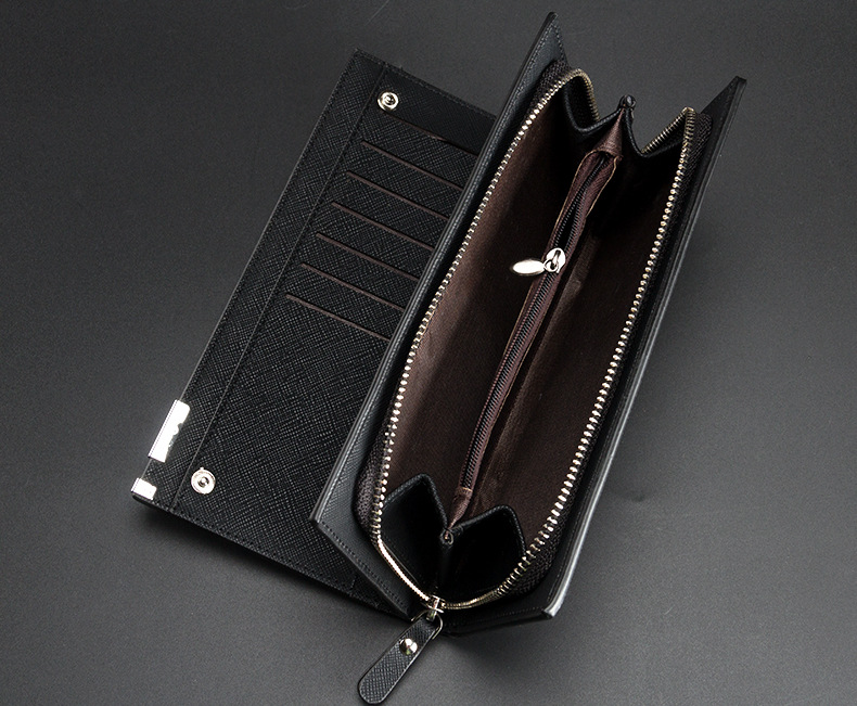 newest High quality mens long Leisure/business Iron edge with carrying strap leather wallets/purse/clutches free shipping W005