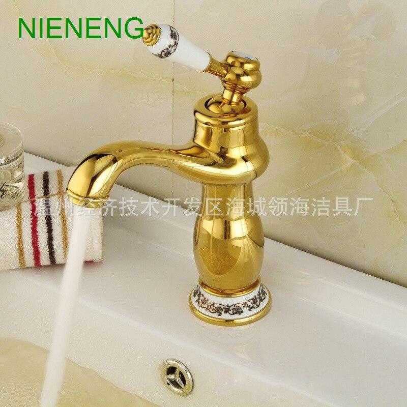 NIENENG bathroom faucet bath sink mixer golden tap toilet accessories faucets hotel facility gold mixers basin taps ICD60213