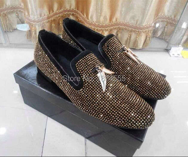 Summer Italy Designed Gold Black Rhinestone Party Dress Men Flats Shoes  Casual Outdoor Loafers Shoes High Quality Oxfords Man 9f469b991
