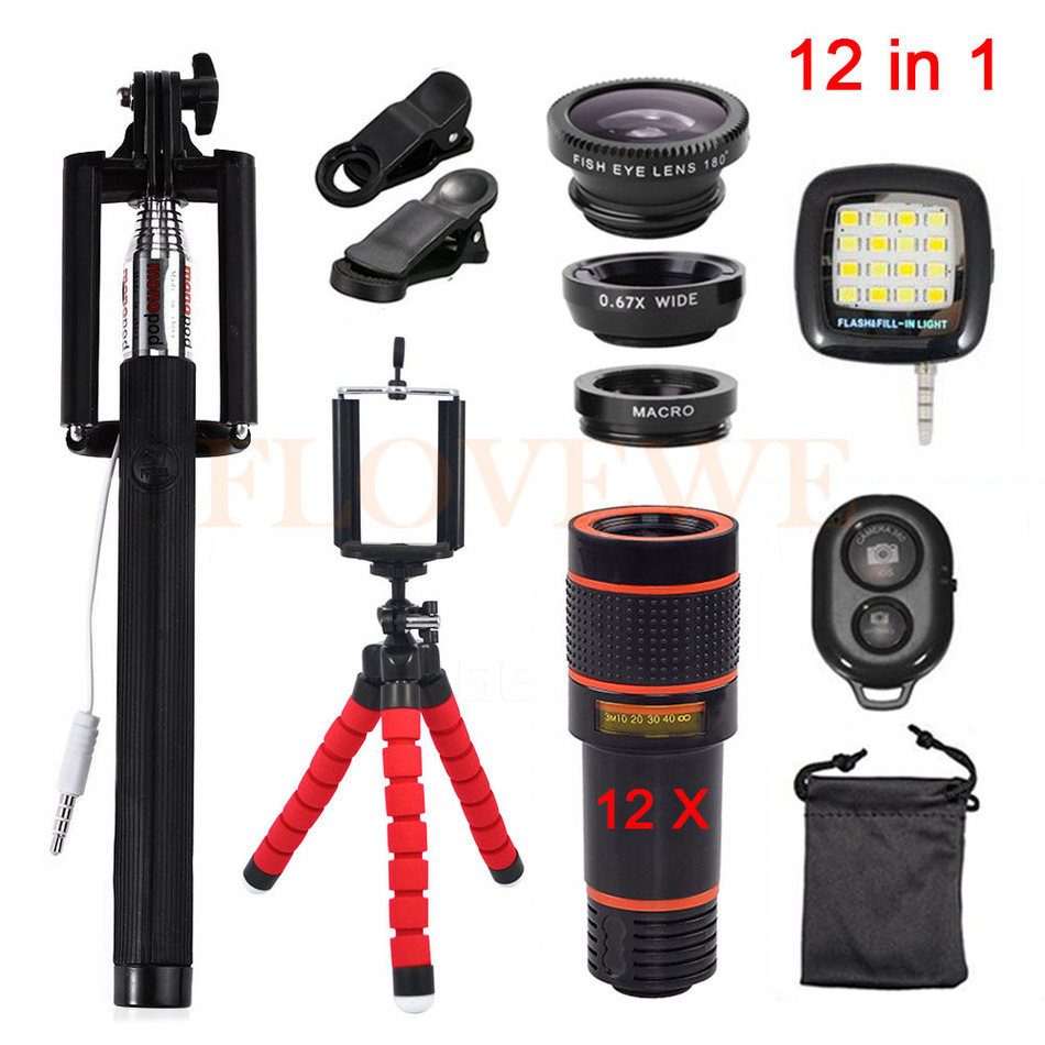 With Clips 12in1 Kits 12x Zoom Telephoto Lentes 3in1 Fish eye Fisheye Lens Wide Angle Macro Lenses For Cell Phone Mobile Tripod