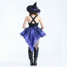 Free shipping Women Halloween Witch Costume Adult Party uniform short dress with hat and hand cuff