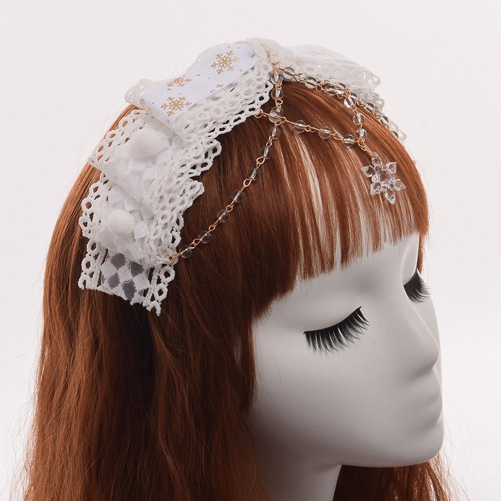 Cute Girls White Hairband Lolita Snowflake Beading Bow Hairband Mini ...