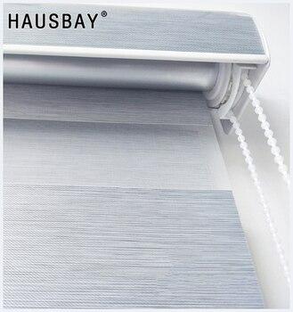 Gray Modern 100% Blackout Zebra Roller Blinds Full Blackout Curtains Custom Made for Living Room Office White Brown JR1003
