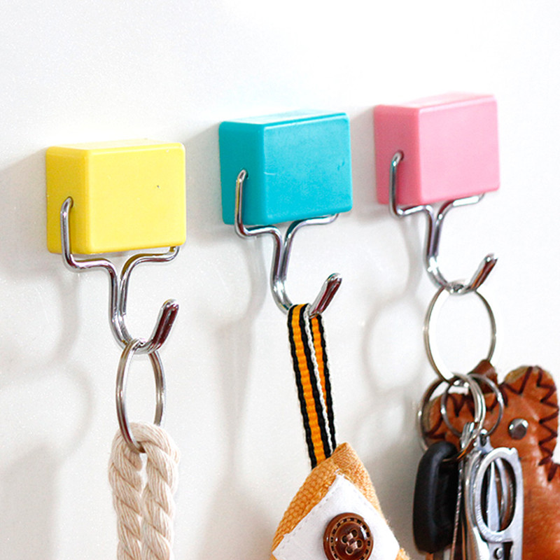 candy color magnetic door hooks for hanging metal magnetic hook for clothes hangers refrigerator magnet key - Hooks For Clothes Hangers