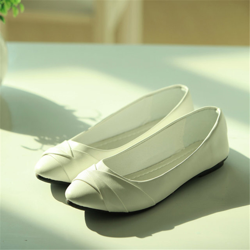 free shipping 2016 Spring women's shoes pointed flat with nurse shoes casual Korean fashion flat shoes white black work free shipping 1pc retail 2016 spring girls fashion white with black star leggings